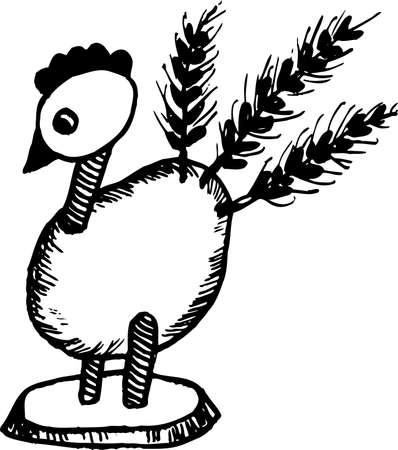 rekodzielo: Rękodzieło z kurczaka na białym Ilustracja