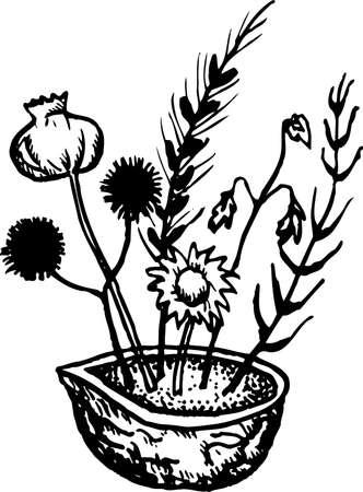 rekodzielo: Rękodzieło miska z kwiatów na białym Ilustracja