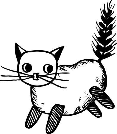 playroom: Handicraft cat on white Illustration