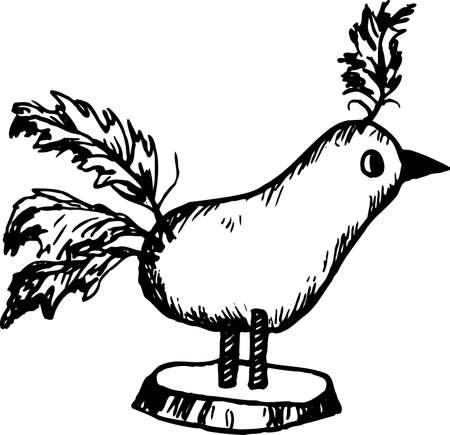 playroom: Handicraft bird on white Illustration