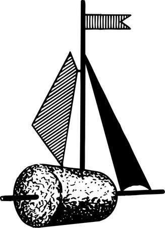 rekodzielo: Rękodzieło maszt na białym Ilustracja