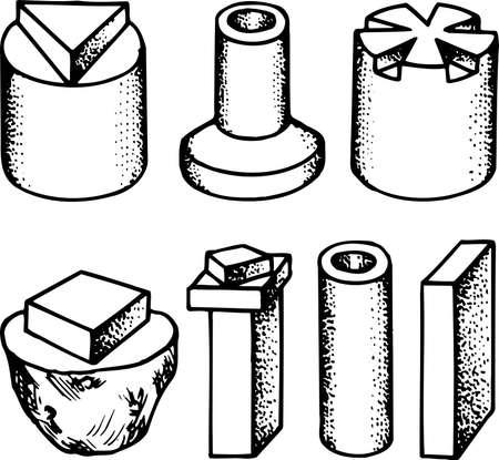 rekodzielo: Rękodzieło szczegóły na białym Ilustracja