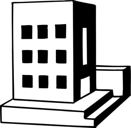 bilding: Handicraft building on white Illustration