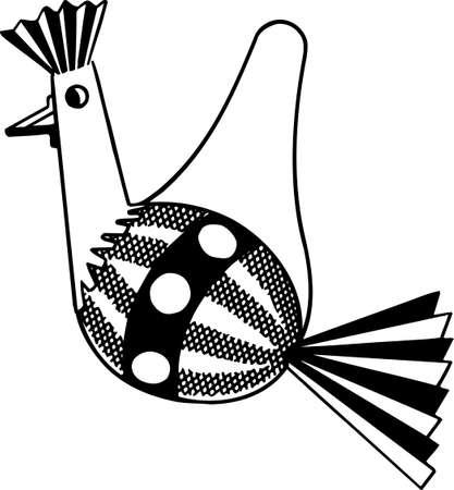 playroom: Handcraft bird on white