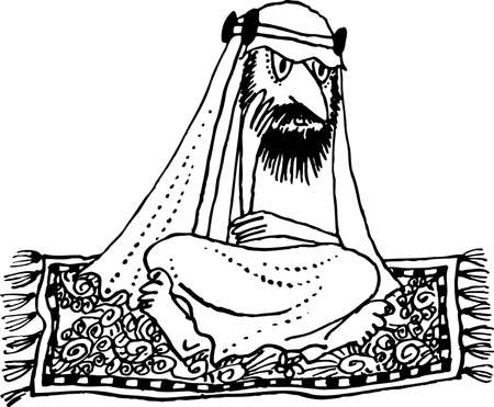 sheik: Arab sitting on carpet on white