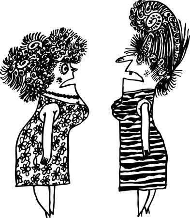 scold:  Two women abusing on white Illustration