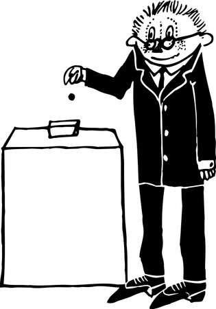 electing: Man paying on white