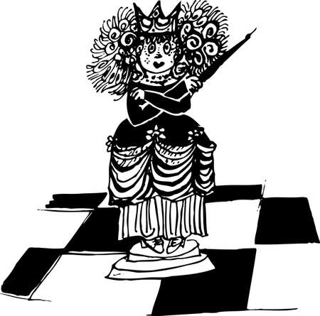 dominate: Chess queen on the board on white