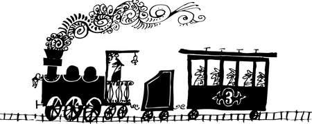 zug cartoon: Zug auf wei�