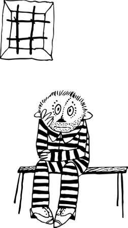 preso: Prisionero sentado en el banco