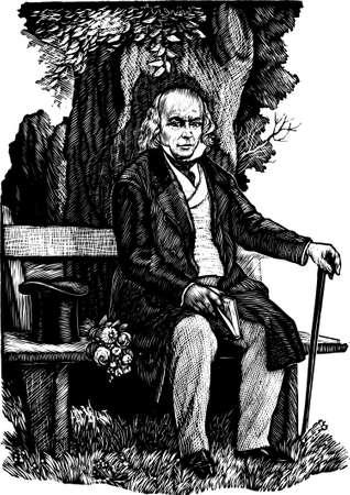 vieil homme assis: Vieil homme assis sur le banc Illustration