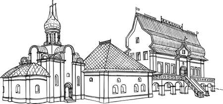 abbey: Monastery on white Illustration