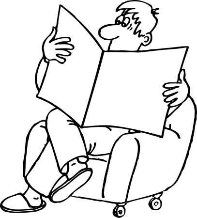 reading newspaper: Man reading the newspaper