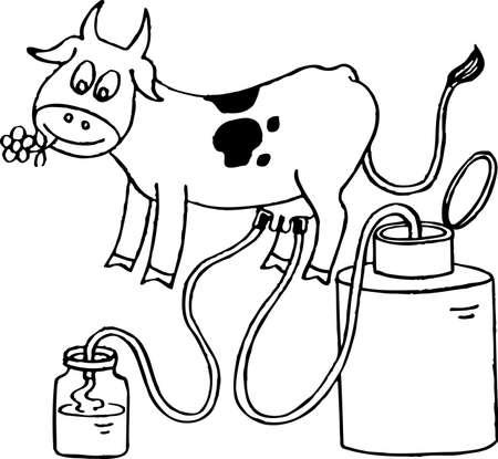 Cow giving milk Vector