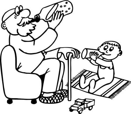 vieil homme assis: Grand-p�re et petit-fils Illustration