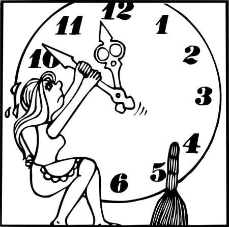 mujer estres: Necesitamos m�s tiempo Vectores