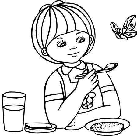 food to eat: Girl and butterfly