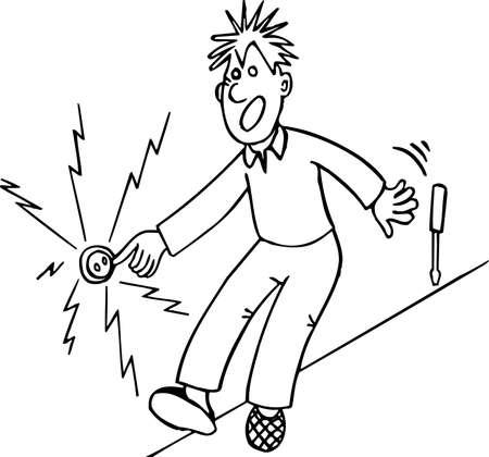 electric shock: Shocked man