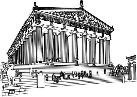 parthenon: Building on white
