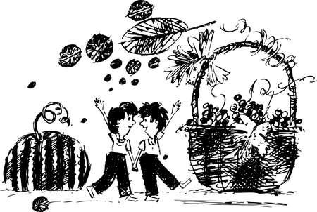 포도 수확: 가을에 수확에 흰색