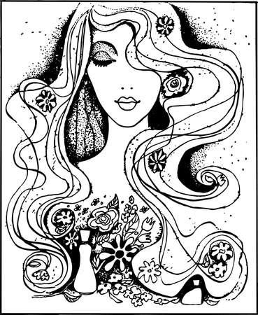 beautiful girl face: Beautiful lady Illustration