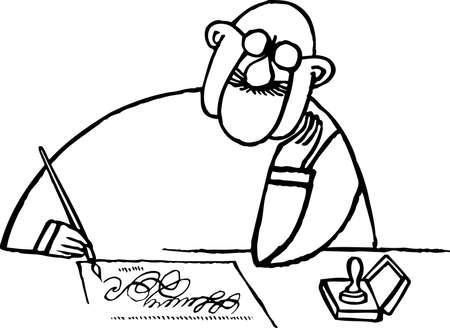 Man writing Stock Vector - 10381022