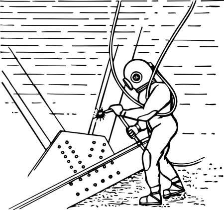 Scuba duiker op het werk