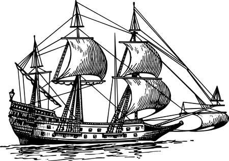 schooner: Sailboat Illustration