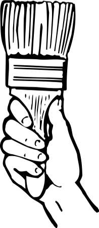 house painter: Hand holding a painting brush