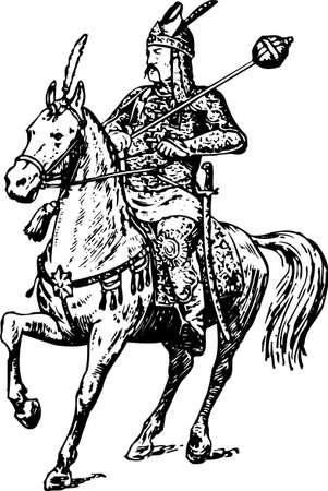 uomo a cavallo: Cavaliere a cavallo su bianco Vettoriali