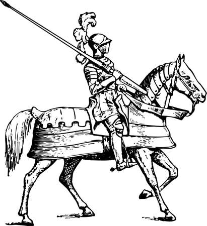 rampant: Knight on horse on white  Illustration