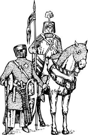 espadas medievales: Caballeros Vectores