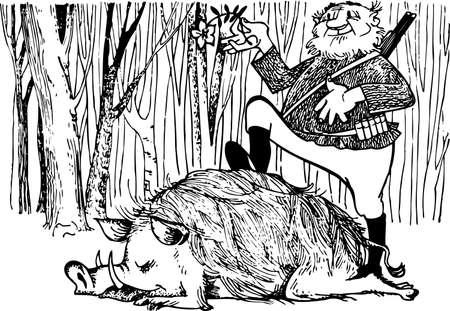 sanglier: Chasseur avec un sanglier Illustration
