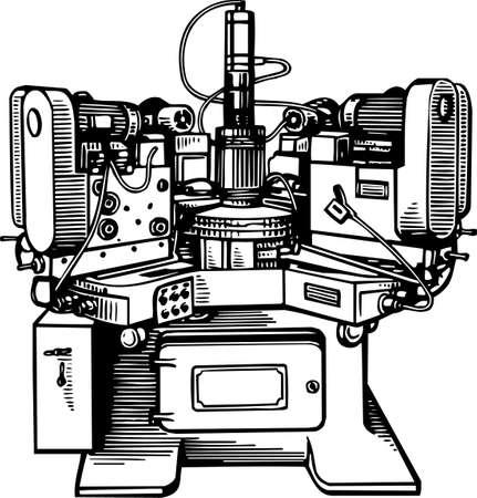 on the lathe: Machine tool Illustration