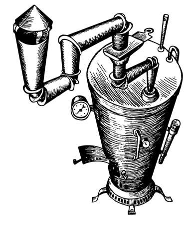 chimney pot: Pot bellied stove Illustration
