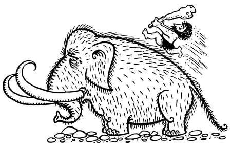 mammoth: Caveman has a hunt Illustration