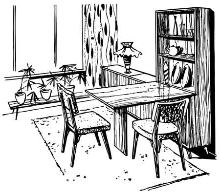 drawing room: Home drawing Illustration