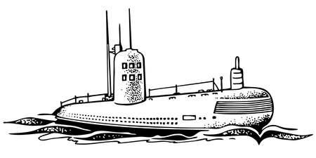 powered: Nuclear powered submarine Illustration