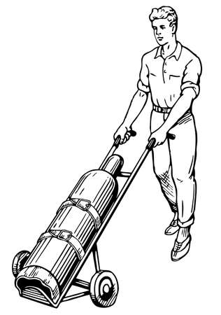 propane tank: Man with gas balloon Illustration
