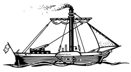 naval: Steam ship Illustration