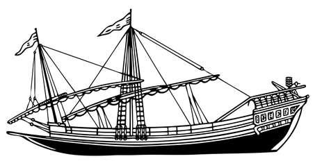 caravelle: Les marins sur fond blanc