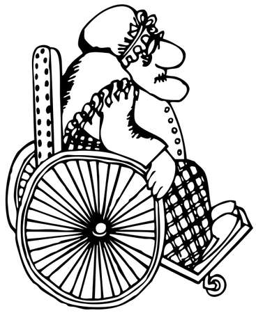 handicapped person: Senior woman in the wheelchair Illustration