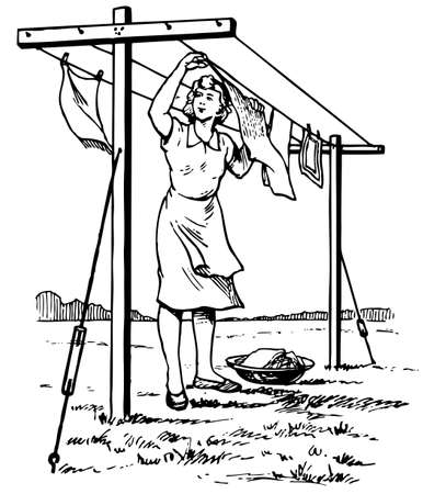 bedclothes: Woman hanging he linen Illustration