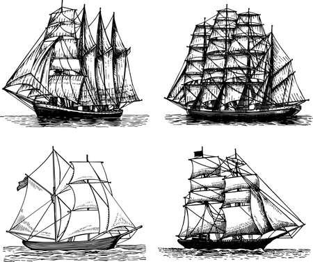 vecchia nave: Alcune barche a vela isolate on white Vettoriali