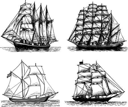 schooner: Some sailboats isolated on white