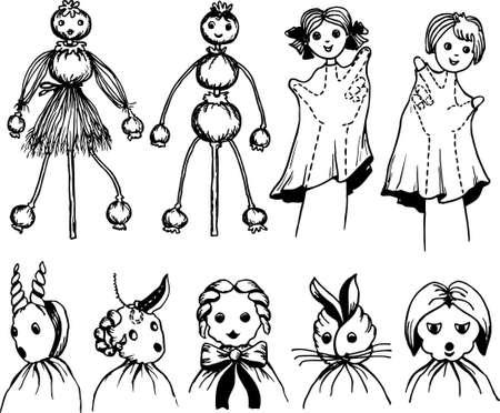 rekodzielo: Lalki Rękodzieło Ilustracja