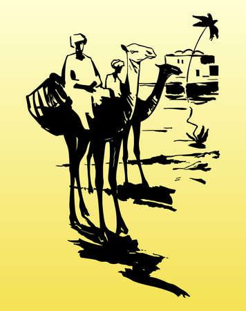 Camels and bedouins in desert Stock Vector - 10534031