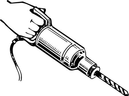 electric drill: The worker holding electric hand drill Illustration