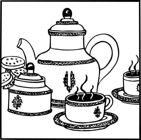 chai: Tea set Illustration