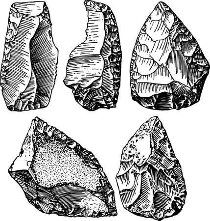 둥근 돌: 석기 시대의 일부 돌 일러스트